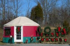 Yurt with Christmas display