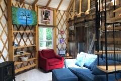 24' yurt with 10' tall walls used as an Air bn b in Fancy Gap VA